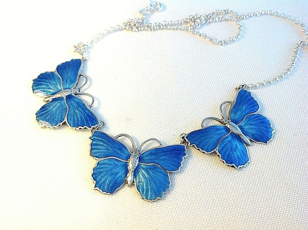 Antique style sterling silver blue Artisan enamelled butterfly necklace