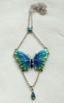 Antique style sterling silver blue Artisan enamelled butterfly necklace enamel
