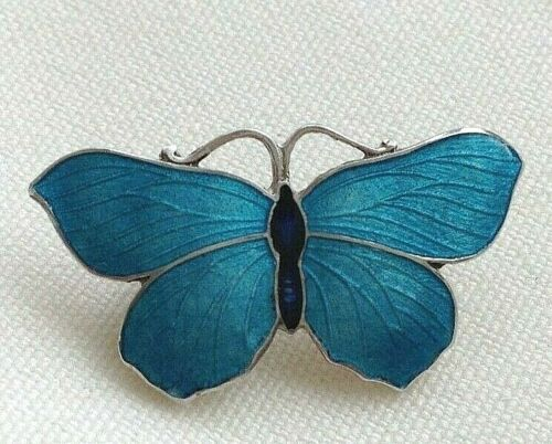 Antique style sterling silver blue Artisan enamelled butterfly brooch pin e