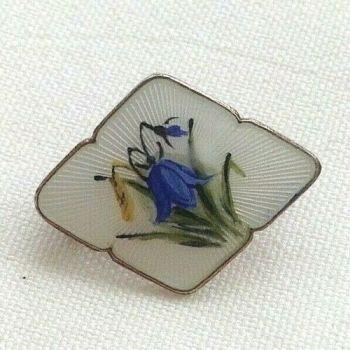 Antique sterling silver Norway enamelled enamel brooch pin bluebells