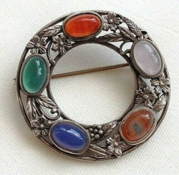 Antique sterling silver Arts & Crafts brooch pin