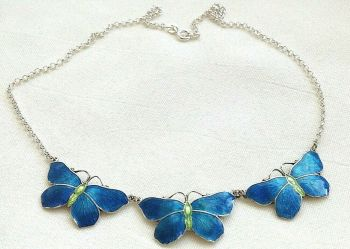 Antique style sterling silver blue Artisan enamelled butterfly trio necklace