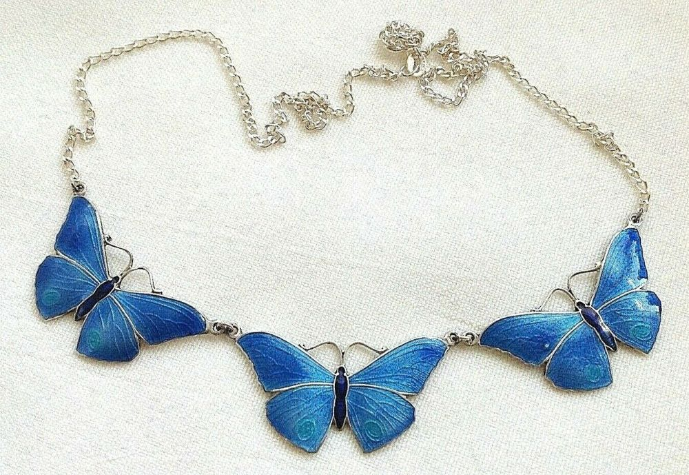Antique style sterling silver Artisan enamelled butterfly brooch pin enamel