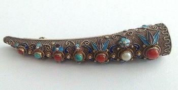 Vintage silver Chinese finger guard brooch pin enamel