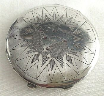 Antique or vintage sterling silver powder compact map of India
