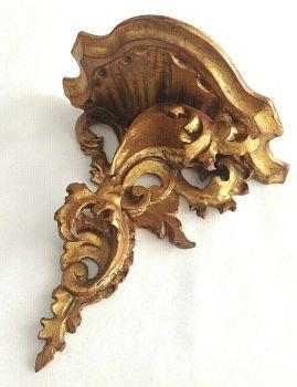 Antique carved wooden shelf bracket gilded French