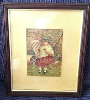 Antique early 20th Century Watercolour Signed WGH young child in garden