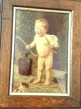 Antique early 19th Century Crystoleum Cherub with bow and arrow