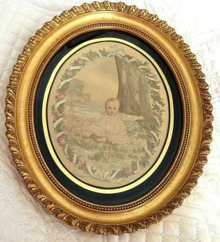 Antique mid 19th century Victorian silk needlepoint embroidered picture baby