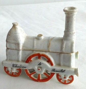 Antique rare Victorian fairing Steam train Clevedon to Bristol match striker pot