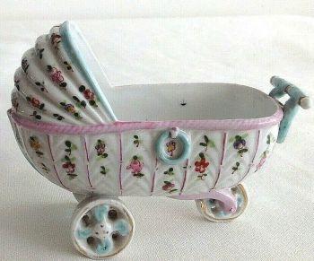Antique German Victorian fairing trinket pot pram perambulator
