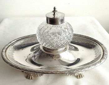 Antique silver Plate cut glass ink well & stand