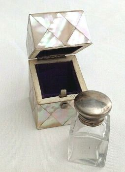 Antique Perfume Scent Bottle in mother of pearl box