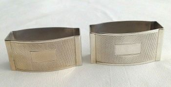 Vintage sterling silver napkin ring pair hallmarked Birmingham 1955 J Gloster