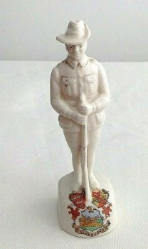 Antique WW1 crested china Colonial Soldier crest for Llandudno