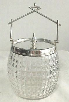 Antique elegant Edwardian cut glass biscuit barrel silver plate