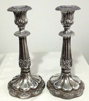 Antique Georgian Sheffield Silver plate candlesticks pair