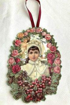 Victorian style Christmas tree decoration Hand made artisan glittered Rose Garland