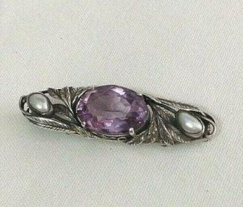 Antique Bernard Instone Arts & Crafts sterling silver brooch pin Amethyst pearl