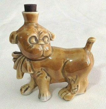 Antique vintage crown top German perfume bottle little pug dog