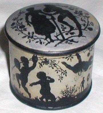 Vintage Papier Mache Powder Box Cherubs