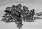 Antique Sterling Silver Marcasite Brooch Pin
