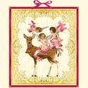 Advent Calendar Cherub Angel Deer Gold Bells Red Velvet Bow