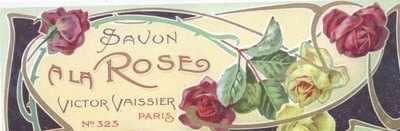 Art Nouveau Savon A La Rose label x 5