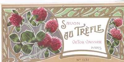 Art Nouveau Savon Au Trefle label x 5