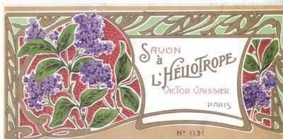 Art Nouveau Savon a L'Heliotrope label