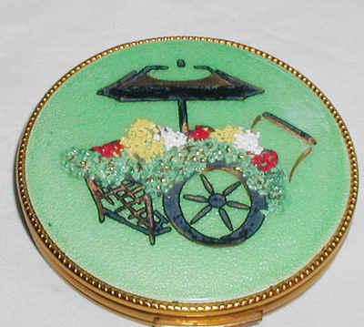 Vintage Evans Powder Compact Flower Cart