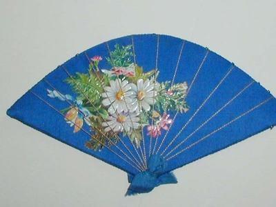 Antique Victorian Fan Pin Cushion Wheel Blue Silk