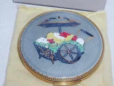 Vintage Evans Flower Cart Powder Compact Enamelled