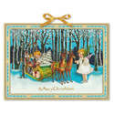 Christmas Victorian Style Large Advent Calendar Cherub Angels Sleigh Reindeer