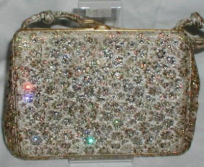 Vintage Brocade And Diamante Bembaron Purse