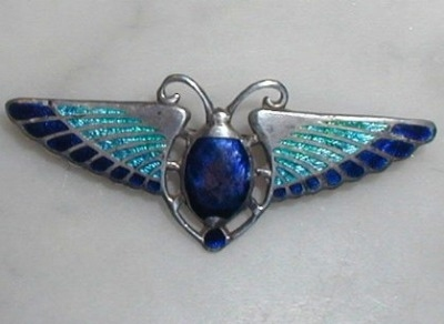 Sterling Silver Art Nouveau Style Cicada Brooch Pin