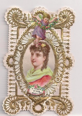 Victorian Paper Lace Gold Embesshement Card