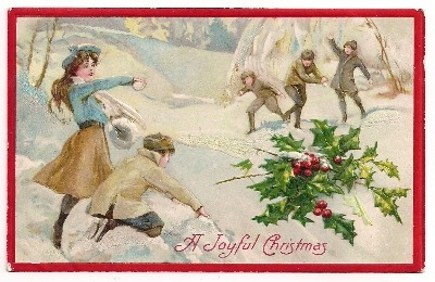 Vintage Christmas Snowball Fight  Post Card