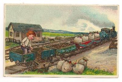 Vintage Steam Train German Post Card