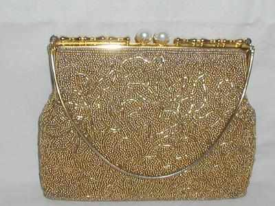 Vintage Beaded Purse Pearl Clasp Rose Satin Lining