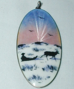 Antique Sterling Silver Norway Enamel Pendent