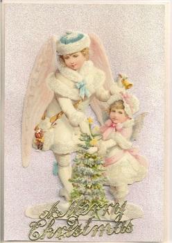 Snow Baby Angel Cherub Christmas Tree Greeting Card