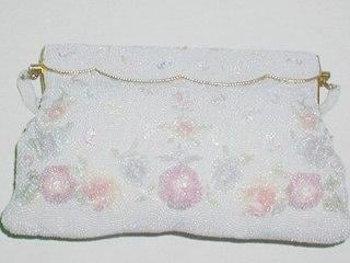 Vintage Bead Beaded Evening Purse Flowers Pastel Pearls