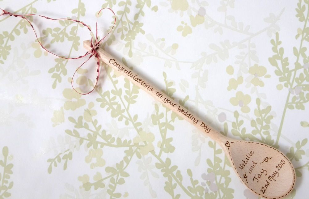 Personalised wedding wooden spoon gift