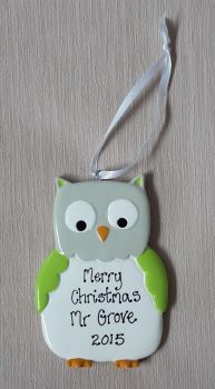 Personalised Owl Decoration - teacher gift idea