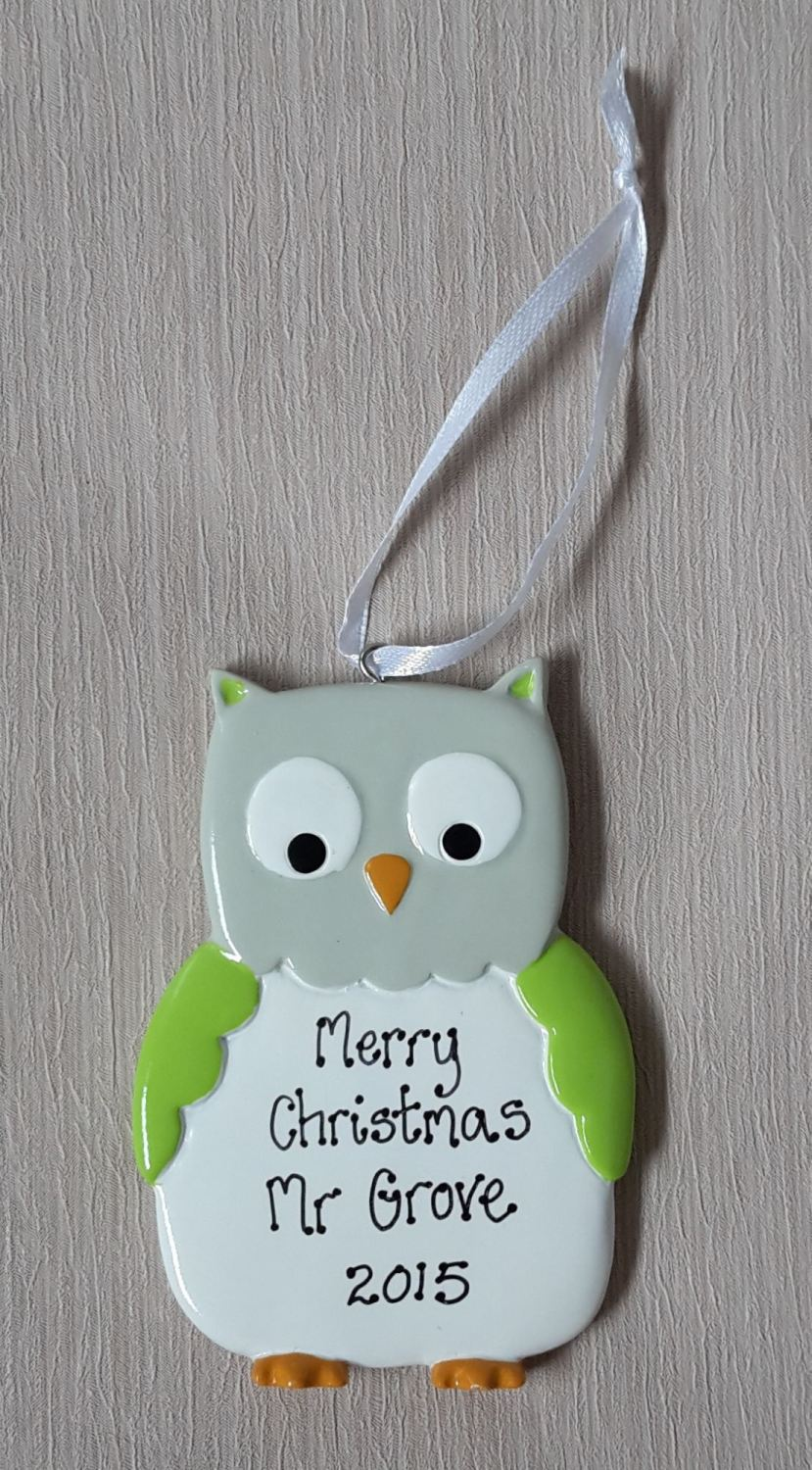 <!-- 0002 -->Personalised Owl Decoration - teacher gift idea