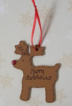 Personalised reindeer shaped christmas decoration