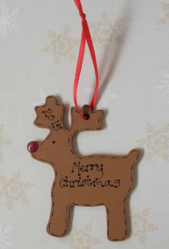 <!-- 00015 -->Personalised reindeer shaped christmas decoration