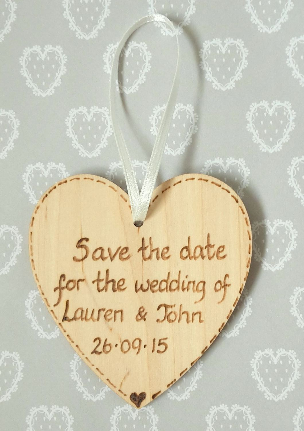 Personalised save the date hearts