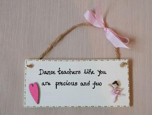 Dance, ballet, gymnastics teacher plaque gift